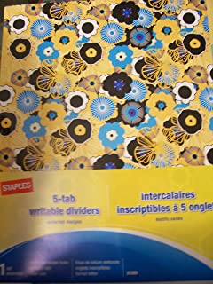Staples Decorative 5-tab Writable Dividers (21261) ~ Flower Petals