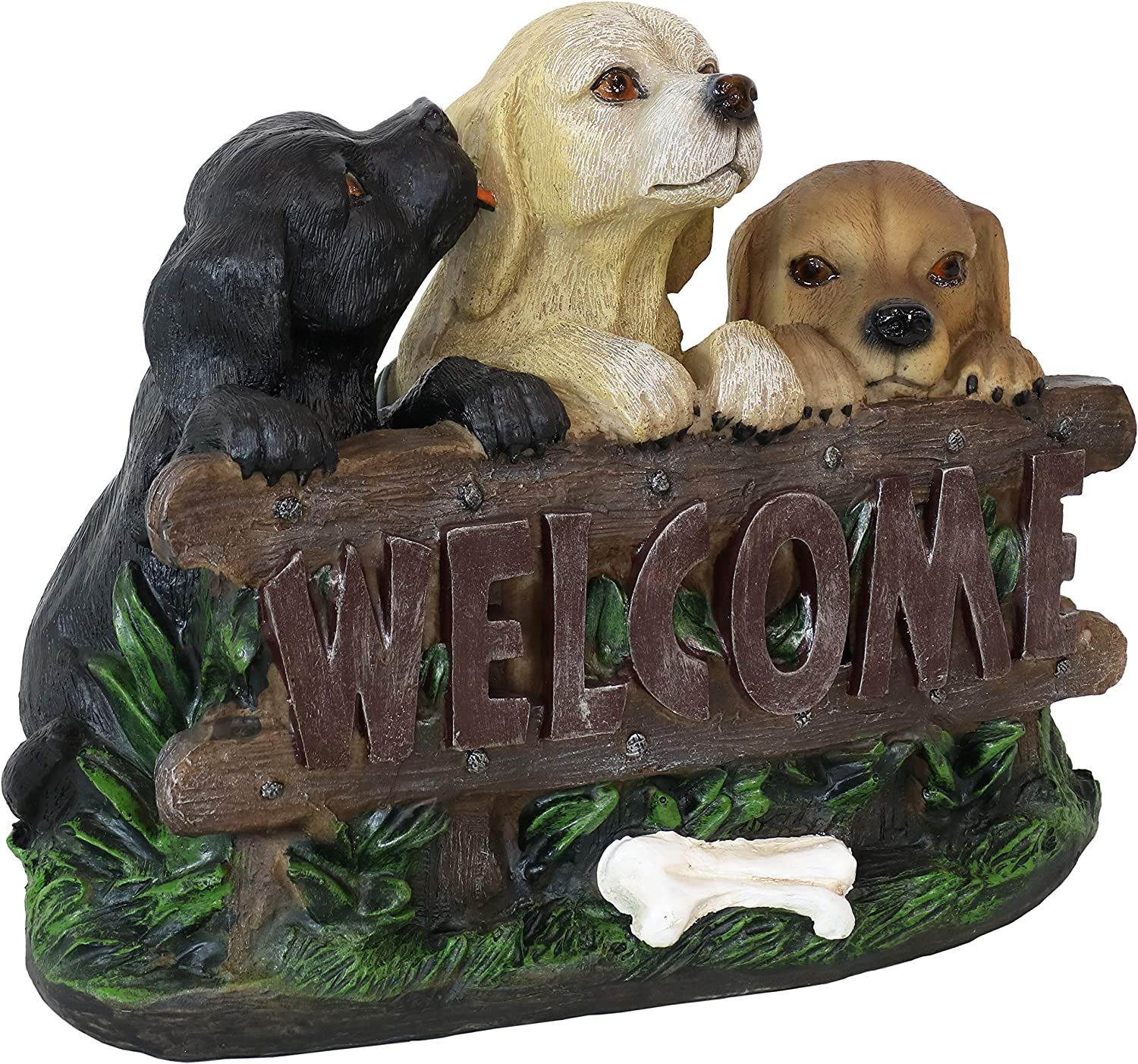 Sunnydaze Welcome Save ! Super beauty product restock quality top! money Statue Three Puppies Decor - Indoor Outdoor Pa
