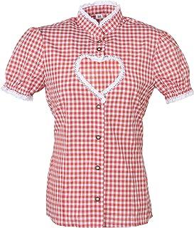 Ramona Lippert Damen Dirndl Bluse Helen Rot Weiß kariert mit Herz Ausschnitt - Trachtenbluse - Blusen für Trachten z.B. zum Oktoberfest