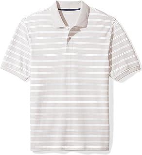 Amazon Essentials Men's Regular-Fit Striped Cotton Pique Polo Shirt