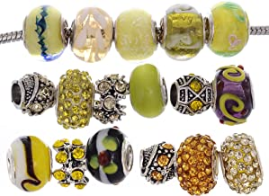 RUBYCA Murano Lampwork Charm Glass Beads Tibetan Crystal European Bracelet Mix Assortment Yellow 15Pcs