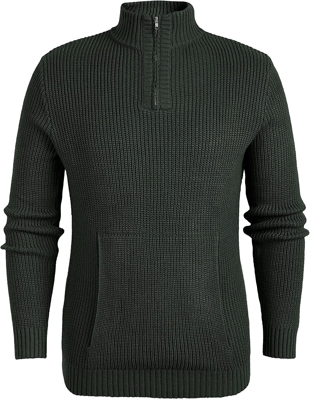 Ladiyo Men Quarter Zip Turtleneck Knitted Pullover Sweater Fashion Casual Pocket Design Knitwear