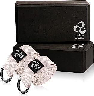 Ensemble de 2 Sangles Yoga Strap 2,4m - eBook Inclus Yoga Ceinture avec Coton Épais Anneau Résistant pour Pilates Entraîne...