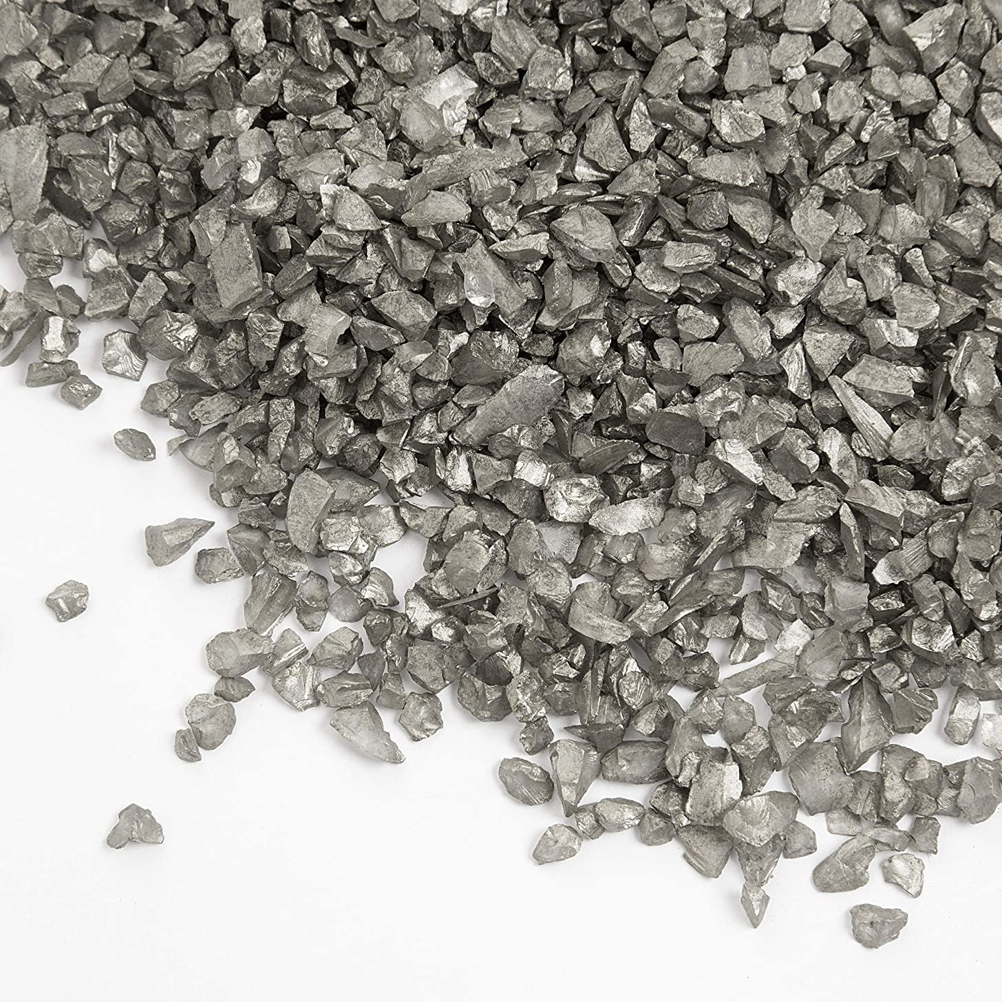 DARICE GS120 500G Crushed Glass Vase Filler/Chips, Silver