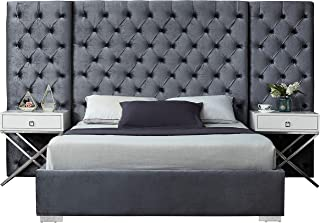 Meridian Furniture Grande Collection Modern | Contemporary Grey Velvet Upholstered Bed with Deep Tufting, with Polished Chrome Stainless Steel Legs, King,