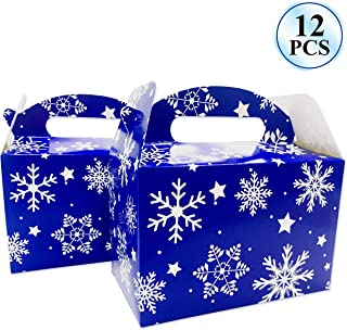 12Pcs Birthday Party Supplies Christmas Party Supplies Boxes Snowflake Treat Boxes for Christmas Holiday Christmas Party Favors, Party Favor Candy Cookies Boxes