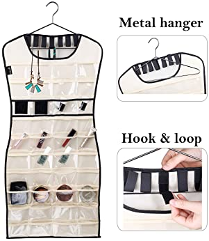 MISSLO Hanging Jewelry Organizer 80 Clear Pockets & 7 Hook Loops Storage for Storing Jewelries, Earrings, Necklaces, ...