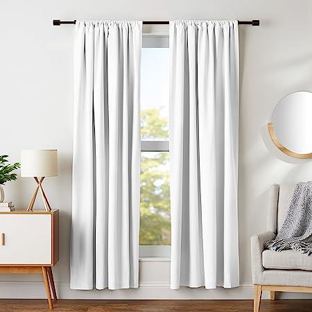 Amazonベーシック 遮光カーテン タッセル付き ホワイト 107cm×213cm