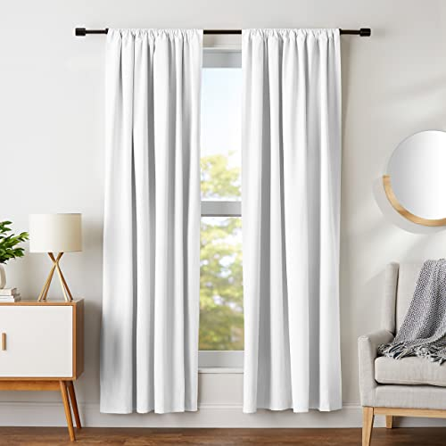 AmazonBasics Room Darkening Blackout Curtain Set with Tie Backs - 52