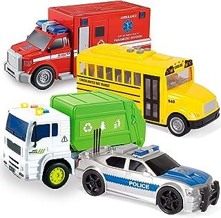 JOYIN 4 PC Friction Powered City Play Vehicle Toy Set Including Police Car, School Bus, Garbage Truck, Ambulance, Vehicle ...