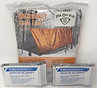 PSA Ops Gear Emergency Shelter Tent + 2 Emergency Survival Blankets (Mylar Tube Tent for Survival + Paracord + 2 Blankets)