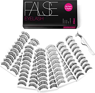 Eliace 50 Pairs 5 Styles Fake Lashes Bulk Handmade False Eyelashes Set Professional Fake Eyelashes Pack , Lashes For Women & GirL , Eyelashes Natural Look Very Soft and Comfortable, With Eyelash Tweezers