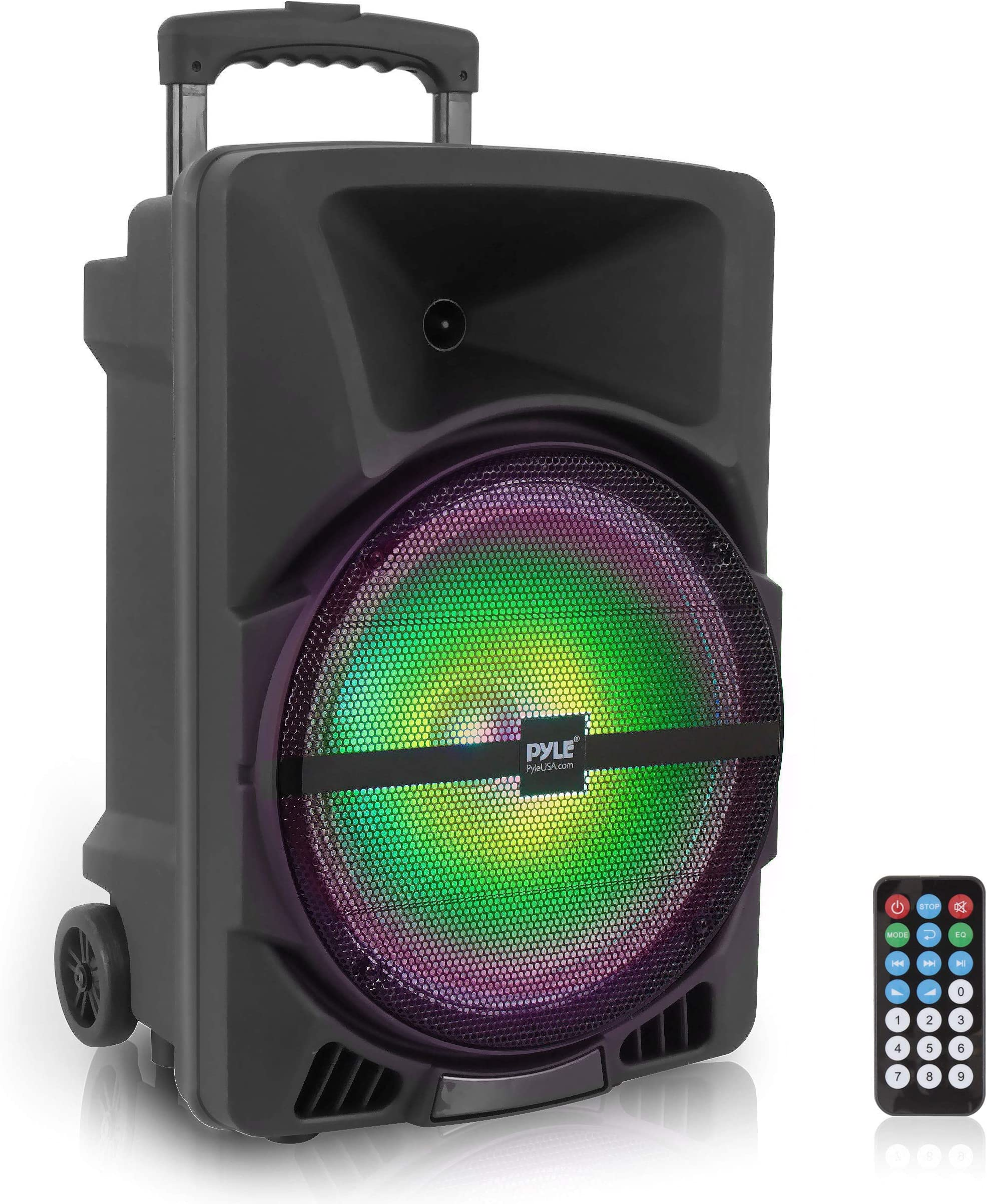 Wireless Portable PA Speaker System -1200W High Powered Bluetooth Compatible Indoor and Outdoor DJ Sound Stereo Loudspeaker wITH USB SD MP3 AUX 3.5mm Input, Flashing Party Light & FM Radio -PPHP1544B