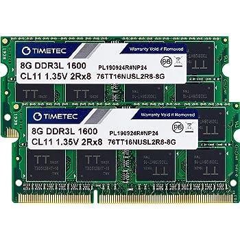 Timetec Hynix IC 16GB KIT(2x8GB) DDR3L / DDR3 1600MHz PC3L-12800 / PC3-12800 Non-ECC Unbuffered 1.35V / 1.5V CL11 2Rx8 Dual Rank 204 Pin SODIMM Laptop Notebook Computer Memory RAM Module Upgrade