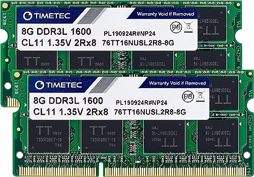 Timetec 16GB KIT(2x8GB) DDR3L / DDR3 1600MHz (DDR3L-1600) PC3L-12800 / PC3-12800 Non-ECC Unbuffered 1.35V/1.5V CL11 2...