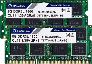 Timetec Hynix IC 16GB Kit(2x8GB) DDR3L 1600MHz PC3L-12800 Non ECC Unbuffered 1.35V CL11 2Rx8 Dual Rank SODIMM Laptop Memor...