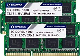 Timetec 16GB KIT(2x8GB) DDR3L / DDR3 1600MHz PC3L-12800 / PC3-12800 Non-ECC Unbuffered 1.35V / 1.5V CL11 2Rx8 Dual Rank 20...