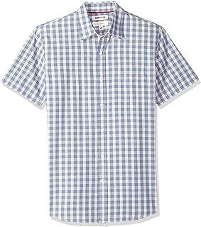 Amazon Brand - Goodthreads Men's Slim-Fit Short-Sleeve Large-Scale Plaid Shirt