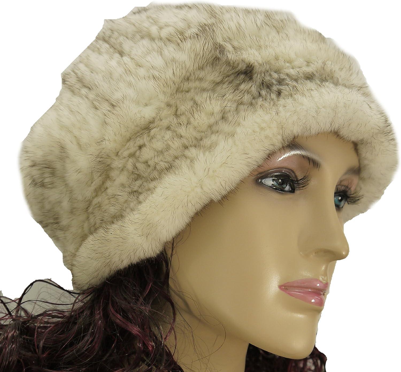 Hima Knit Mink Fur Roller Hat One Size 24''-Ivory-Off White
