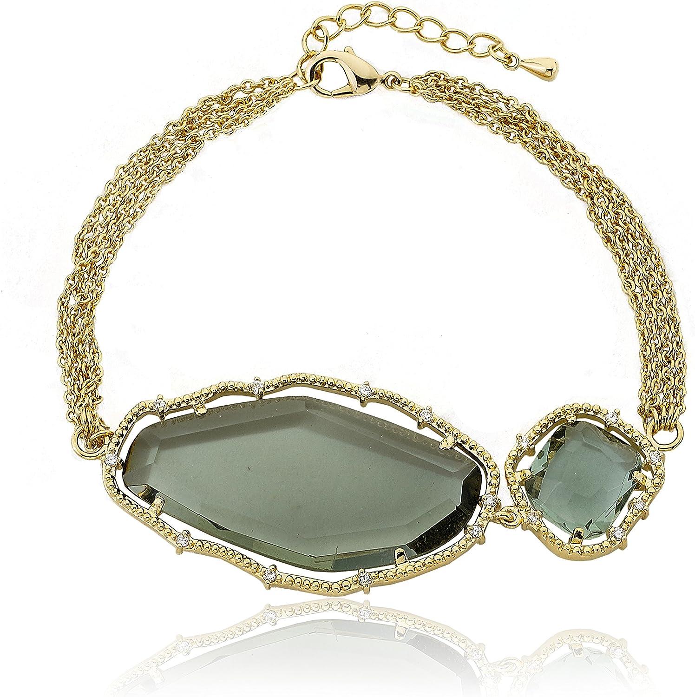 Riccova Direct Max 66% OFF sale of manufacturer Sliced Glass 14k Gold-Plated Strand 4 Bracelet Accented