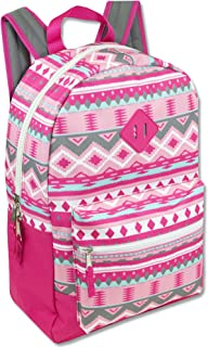 Girls' All Over Printed Backpack 17 Inch With Padded Straps (Pink)