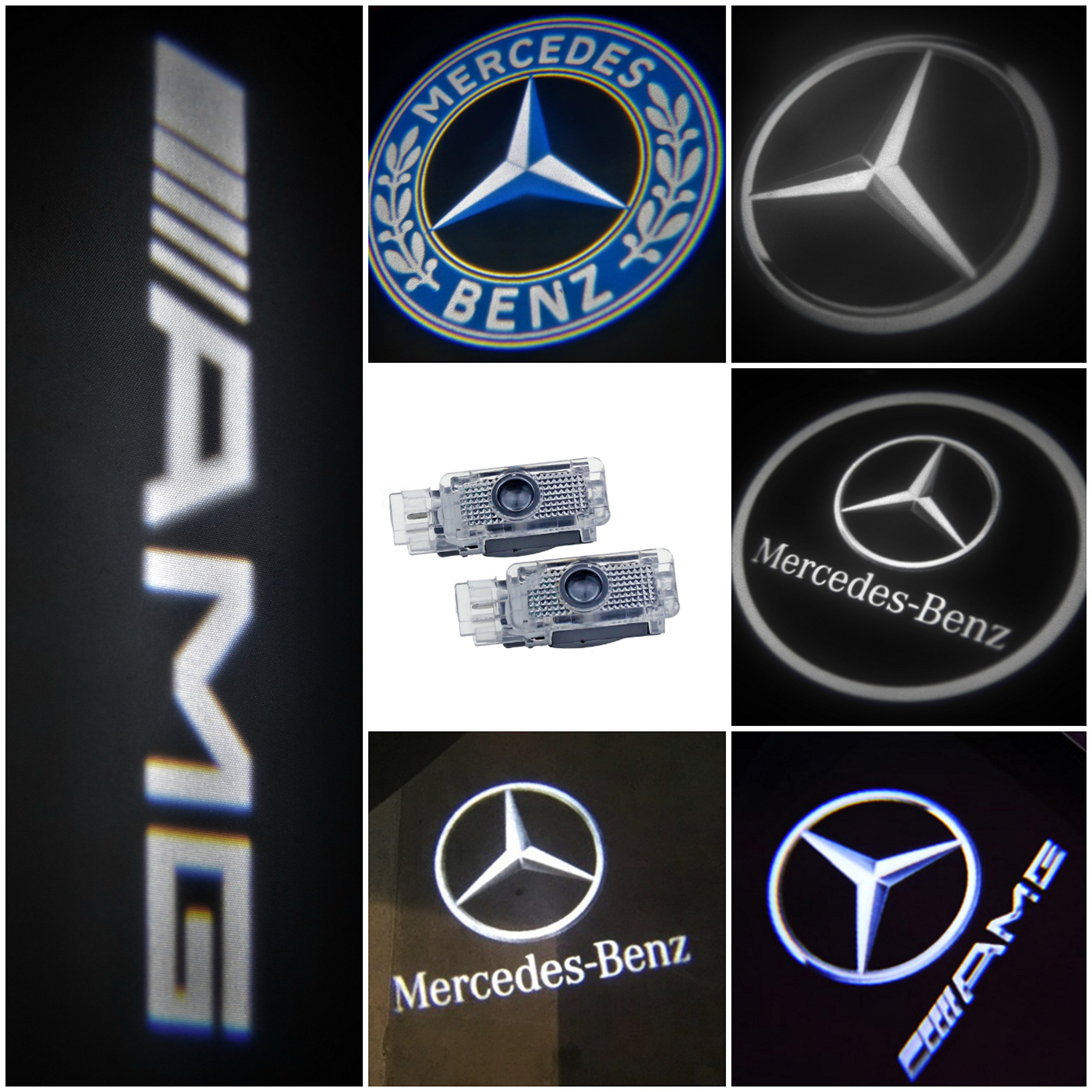 Welcome Lamp,KVCH 1 pair LED Courtesy Lights Easy Installation Car Door Laser Projector Logo Ghost Shadow Lights for Benz C(W205)M E W212 GL with Door Upholstery Remover W166 Benz E
