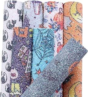 AOUXSEEM Halloween Theme Glitter Pattern Printed Faux Leather Sheet 6 Pcs 8