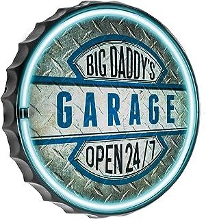 "American Art Decor Big Daddy`s Garage Bottle Cap LED Neon Light Sign Wall Decor for Man Cave, Bar, Garage, Game Room – USB Powered (12.5"")"