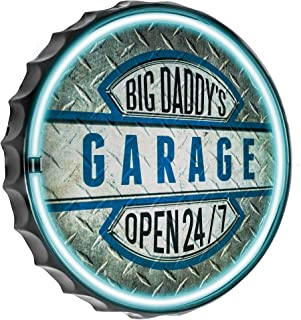 Officially Licensed Big Daddy's Garage Open 24/7 Bottle Cap Shaped LED Sign, New Improved Now with 6' Wall Plug Cord! LED Light Rope That Looks Like Neon, Wall Decor for Bar, Garage, or Man Cave