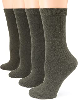 MIRMARU Women's 4 Pairs Solid Color Lightweight Ribbed knitted Soft Cotton Casual Crew Socks