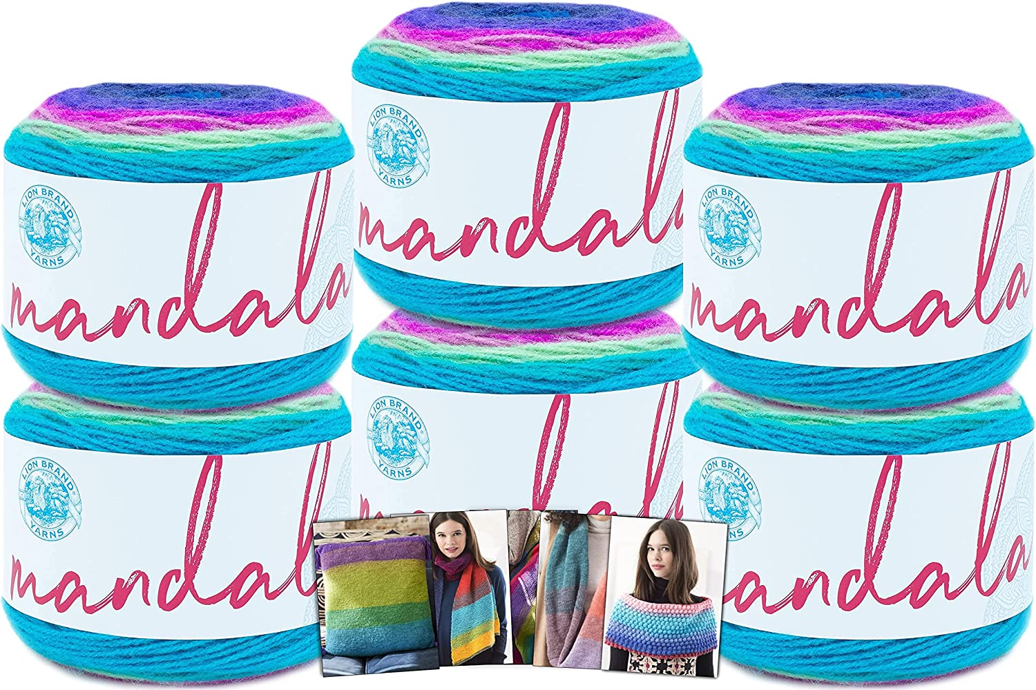 Lion Brand Mandala Yarn - 6 Pack in Weekly update Tr Color Pattern Cards with Award-winning store