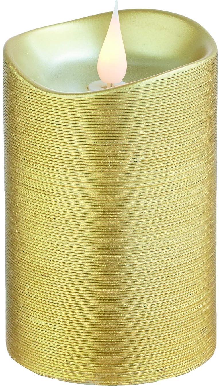 恩赦ソフトウェア呼ぶエンキンドル 3D LEDキャンドル ラインピラー 直径7.6cm×高さ13.5cm ゴールド