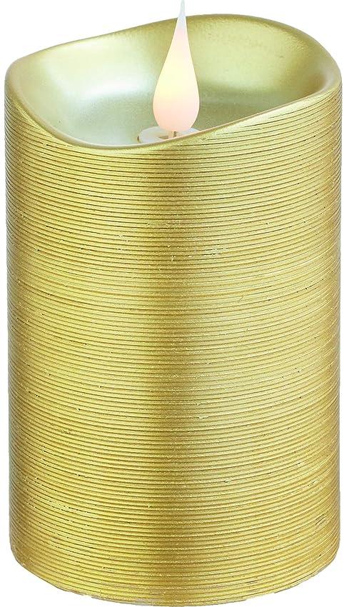 アンケート馬力歌エンキンドル 3D LEDキャンドル ラインピラー 直径7.6cm×高さ13.5cm ゴールド