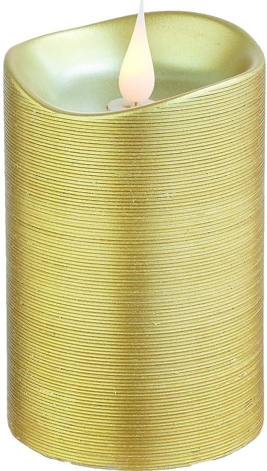 超越する霊ディスカウントエンキンドル 3D LEDキャンドル ラインピラー 直径7.6cm×高さ13.5cm ゴールド