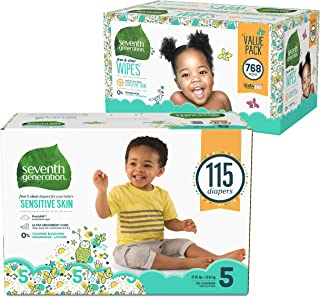 Seventh Generation Baby Diapers for Sensitive Skin, Animal Prints, Size 5, 115 count (Packaging May Vary) and Baby Wipes, Free & Clear with Flip Top Dispenser, 768 count