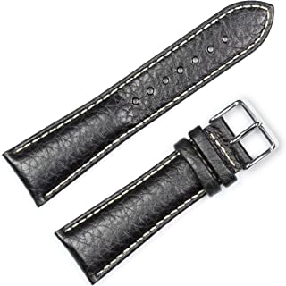 deBeer Brand Sport Leather Watch Band (Silver & Gold Buckle) - Black 18mm