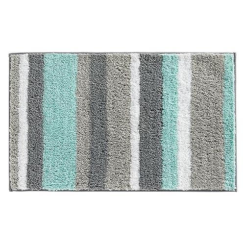 Bon InterDesign Stripz Bath, Machine Washable Microfiber Accent Rug For Bathroom,  Kitchen, Bedroom,