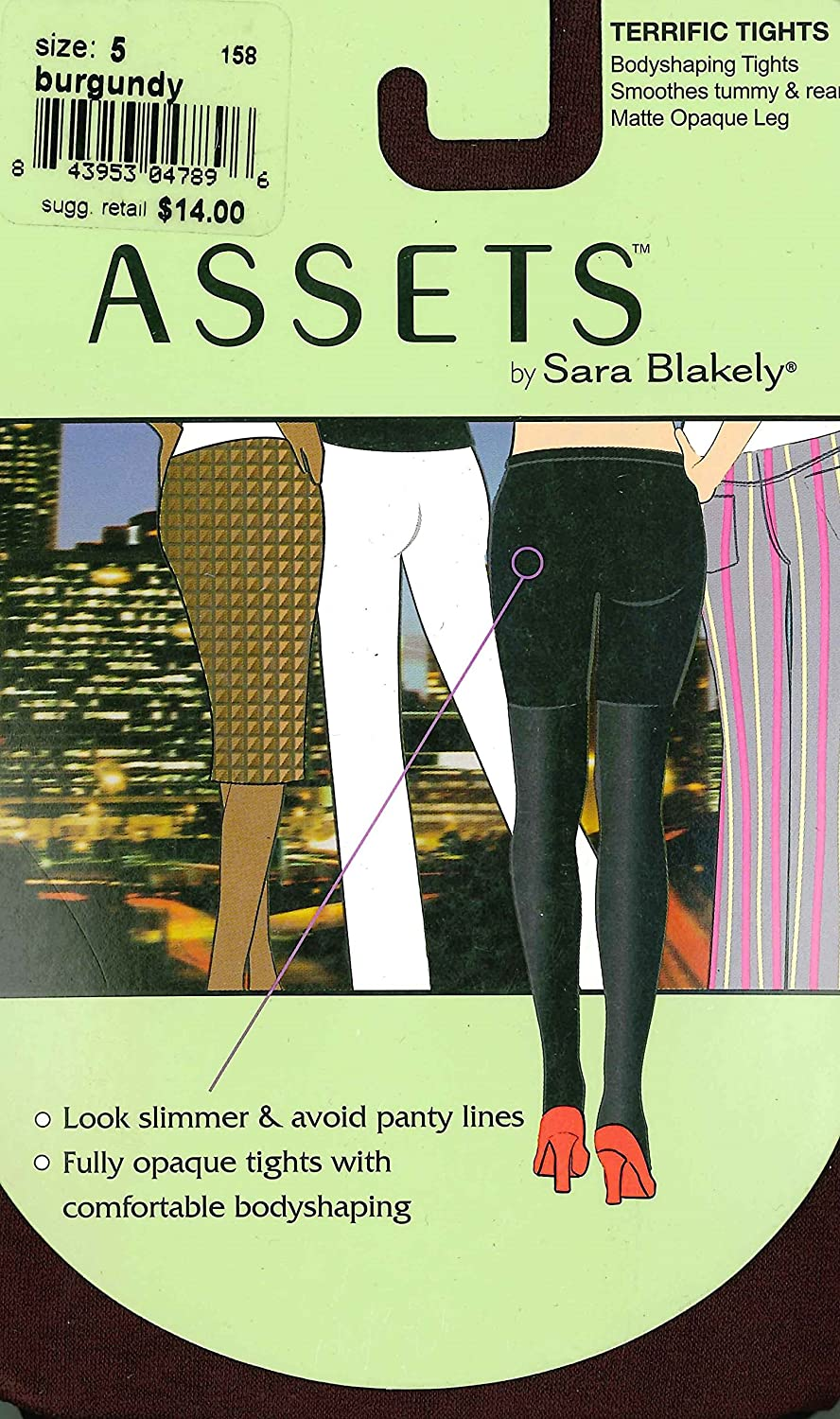 Assets by Sara Blakely Solid Terrific Tights (158B), Burgundy, 5