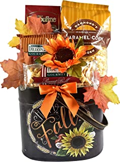 Gift Basket Village Autumn Splendor - Deluxe Fall Gift Basket (Small) - Fall Gift in Painted Metal Planter with Praline Pe...