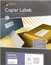 MACO White Copier Address Labels, 1-1/2 x 2-13/16 Inches, 21 Per Sheet, 2100 Per Box (M-5360)