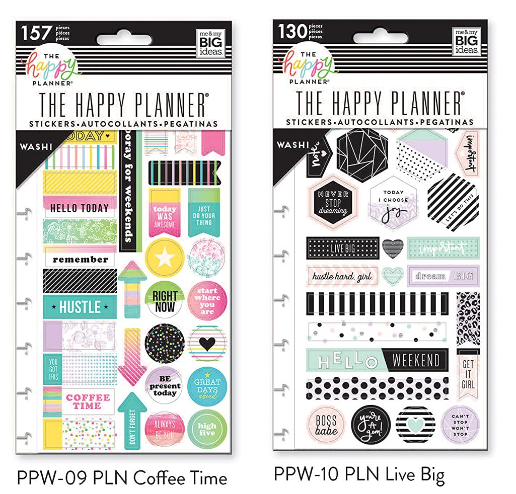 Me & My Big Ideas Snap in Washi Tape Sticker Pack Bundle Coffee Time and Live Big (2 pack-PPW-09, PPW-10)