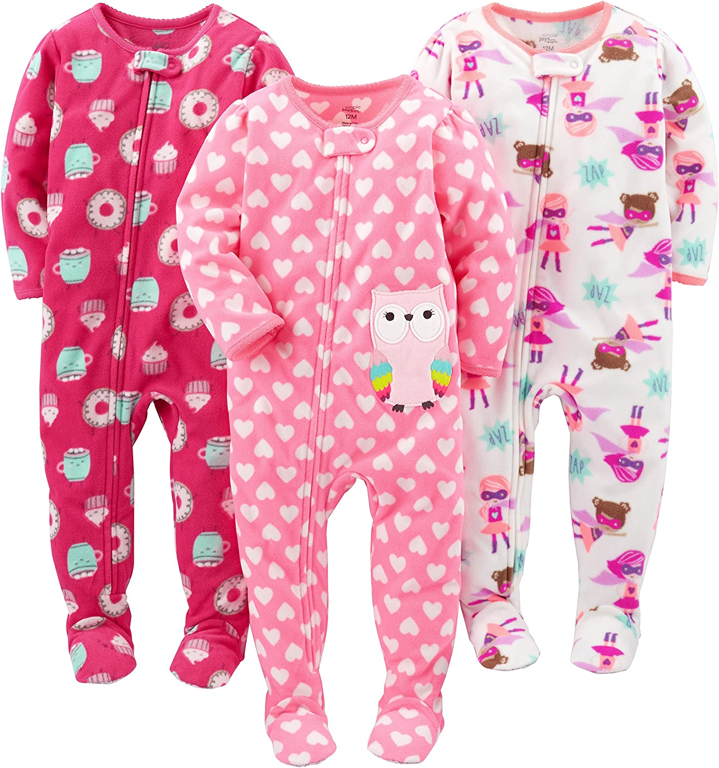 Pacco da 3 Simple Joys by Carters 3-Pack Loose Fit Flame Resistant Fleece Footed Pajamas Bambina
