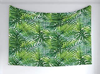Ambesonne Leaf Tapestry, Tropical Exotic Banana Forest Palm Tree Leaves Watercolor Design Image, Fabric Wall Hanging Decor for Bedroom Living Room Dorm, 90