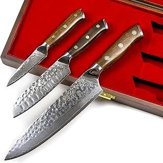 Stallion Damastmesser Ironwood 3er Messerset - Kochmesser, kleines Santokumesser und Officemesser aus Damaststahl mit Griff aus Eisenholz in Edler Geschenkbox