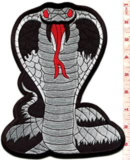 Black cobra snake kung fu martial arts biker tattoo BIG XL 7 X 9 inches embroidered applique iron-on patch S-1559