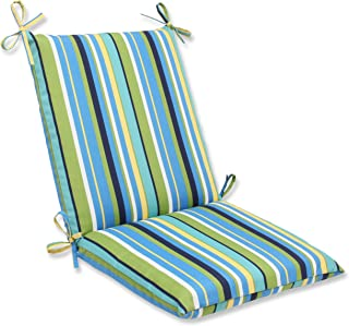 Pillow Perfect Outdoor Topanga Stripe Lagoon Squared Corners Chair Cushion