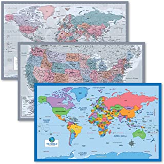 """3 Pack - World & USA Map Chart [Purple] + Simplified World Map for Kids [Blank] (Laminated, 18"""" x 29"""")"""