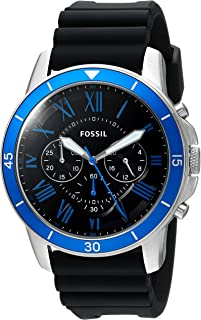 Fossil Men's Black Dial Rubber Band Watch - Fs5300, Analog Display
