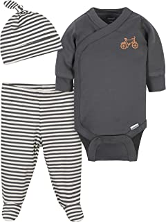 Grow by Gerber Baby Boys Organic 3-Piece Onesies Bodysuit, Footed Pant, and Cap Set