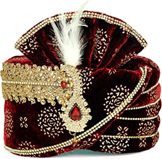 0a6e4eb3 safa/Turban/pagdi for Men Maroon Velvet with Golden Print dulha  Marriage/pagdi